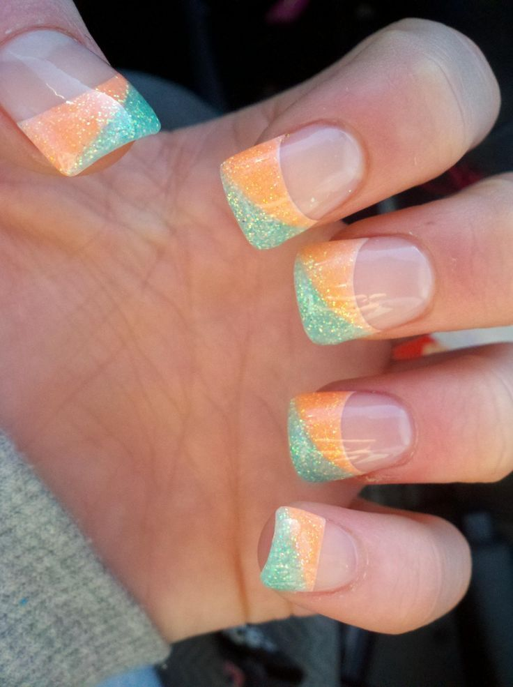 cool I got my nails done like this and I love the two toned color ...