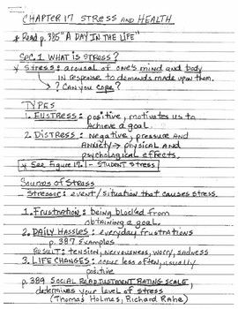 Stress & Health Lecture Notes | ap psychology lecture notes