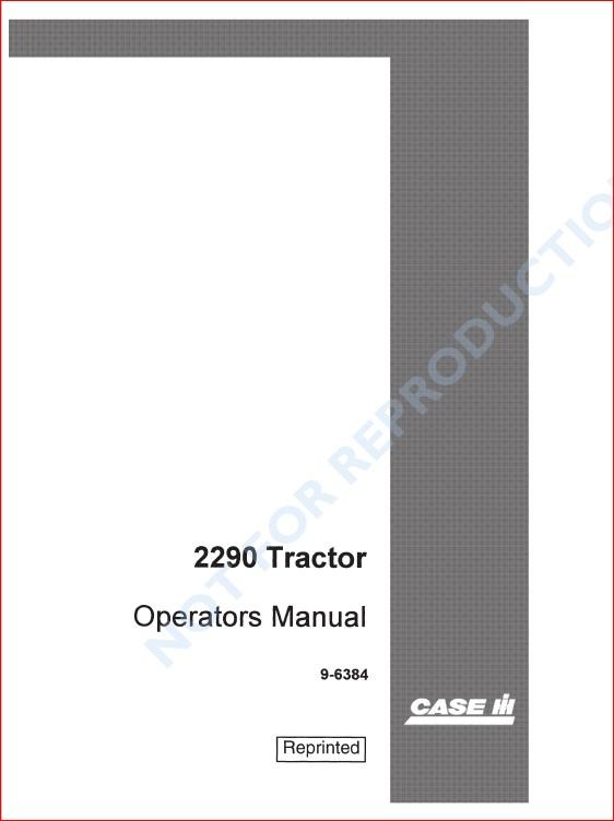 Case Ih 2290 Tractor Operators Manual Case Ih Case Company Manual