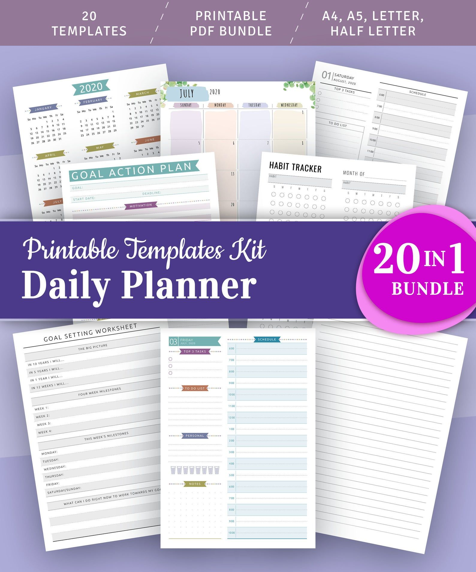 Daily Hourly Planner Printable Bundle Daily Hourly To Do