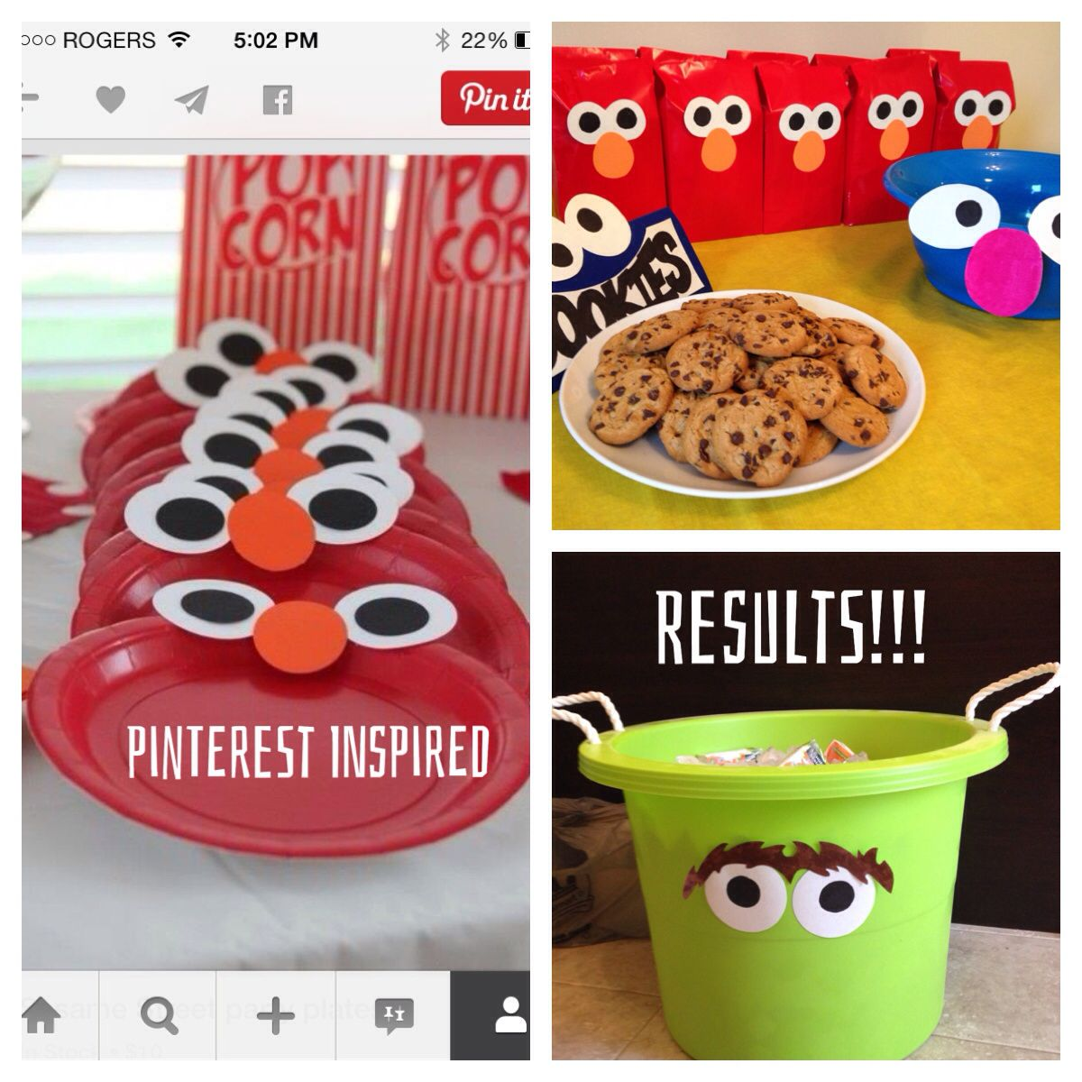 A Sesame Street themed Birthday was a success!!! Making a stencil for the eyes for the Elmo gift bags saved our hides!! :)