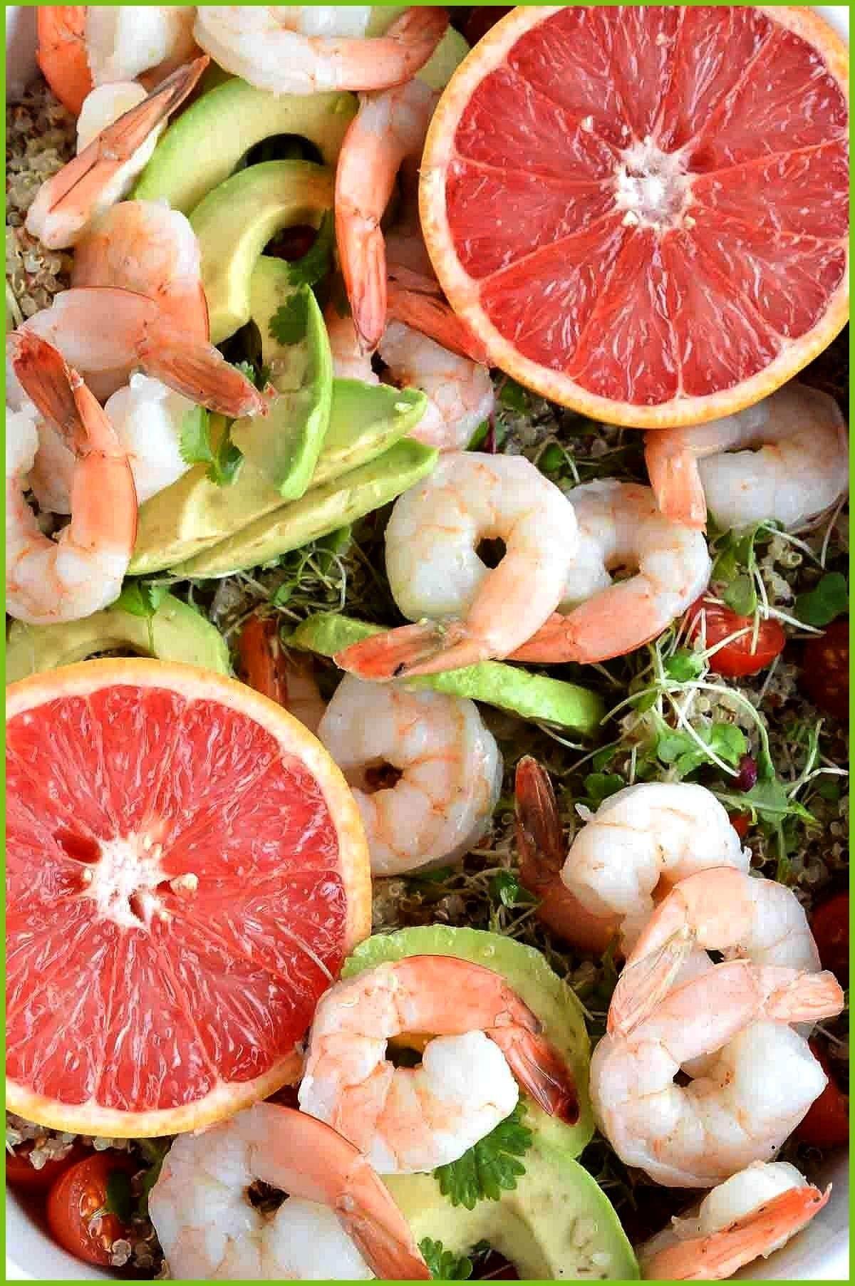 Avocado Salad boiledshrimp Shrimp Avocado Salad with Quinoa and Grapefruit Dressing is a bright fla