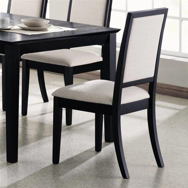 2 Lexton Transitional Black Cream Wood Side Chairs