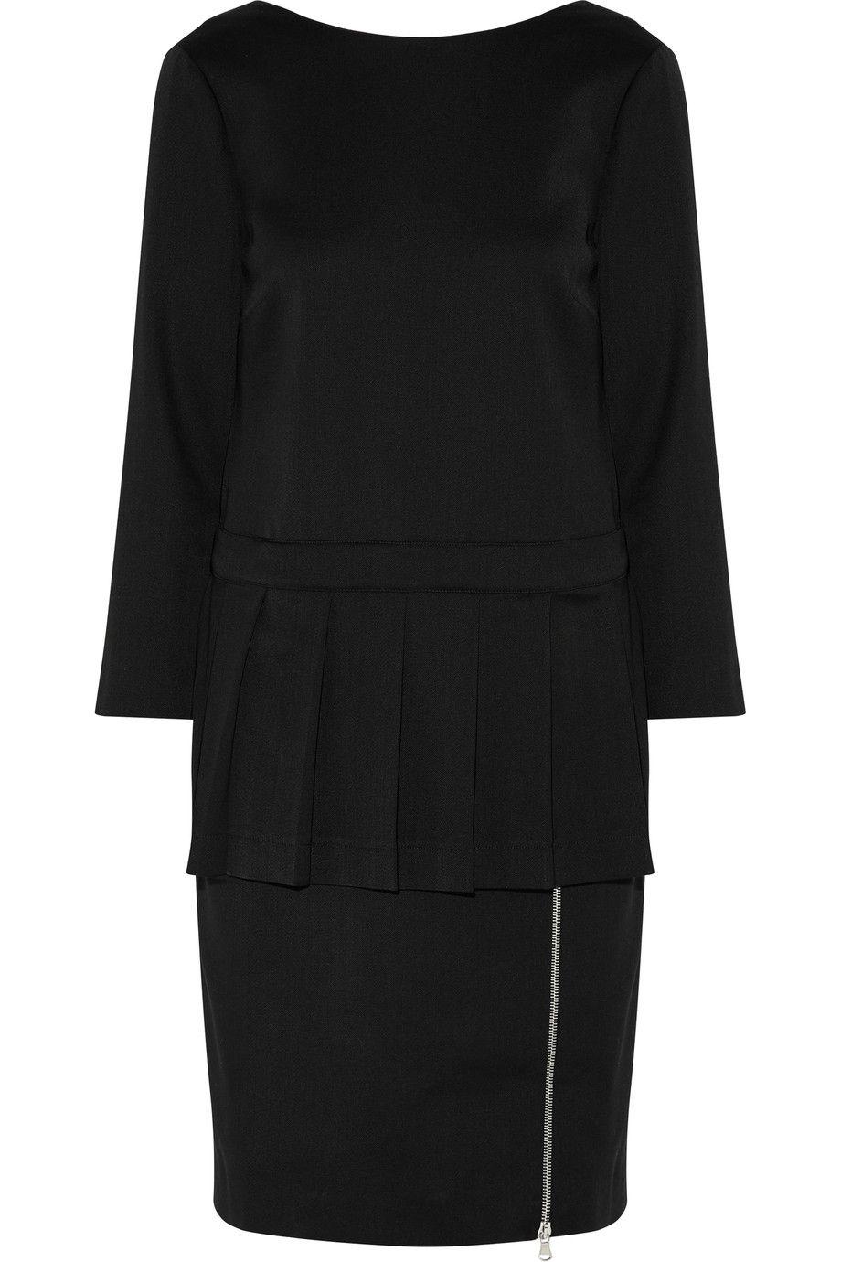 Moschino Woman Pleated Wool-blend Twill Peplum Dress Black Size 38 Moschino 4GgVHYfTq0