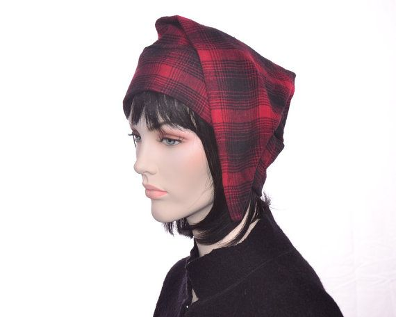 cdcea44e7a Men s Cotton Flannel Sleep Hat Nightcap Red Black by MountainGoth ...