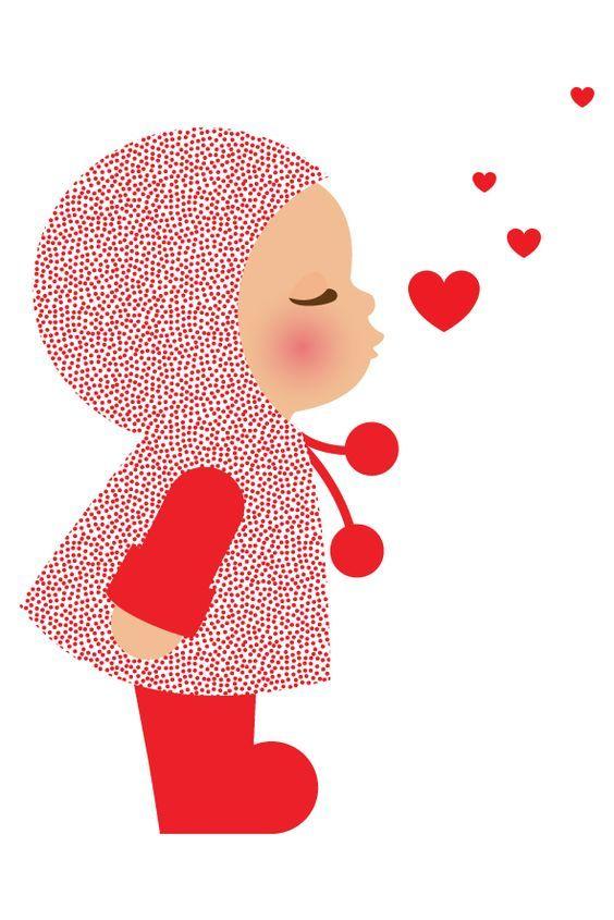 Сделать открытку, воздушные поцелуи рисунок
