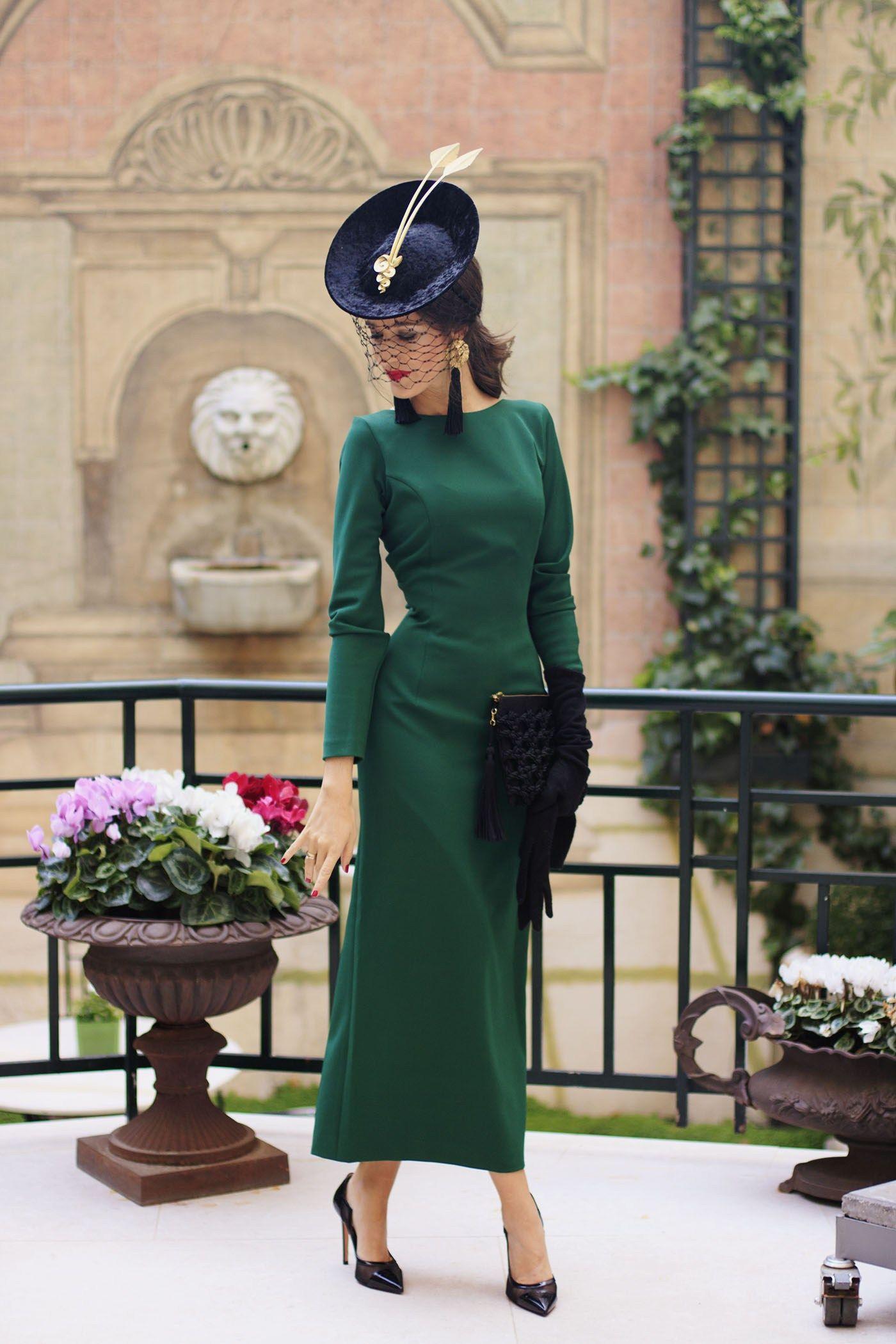 642f3f268 look invitada boda vestido midi vintage tocado guantes | Fiesta in ...