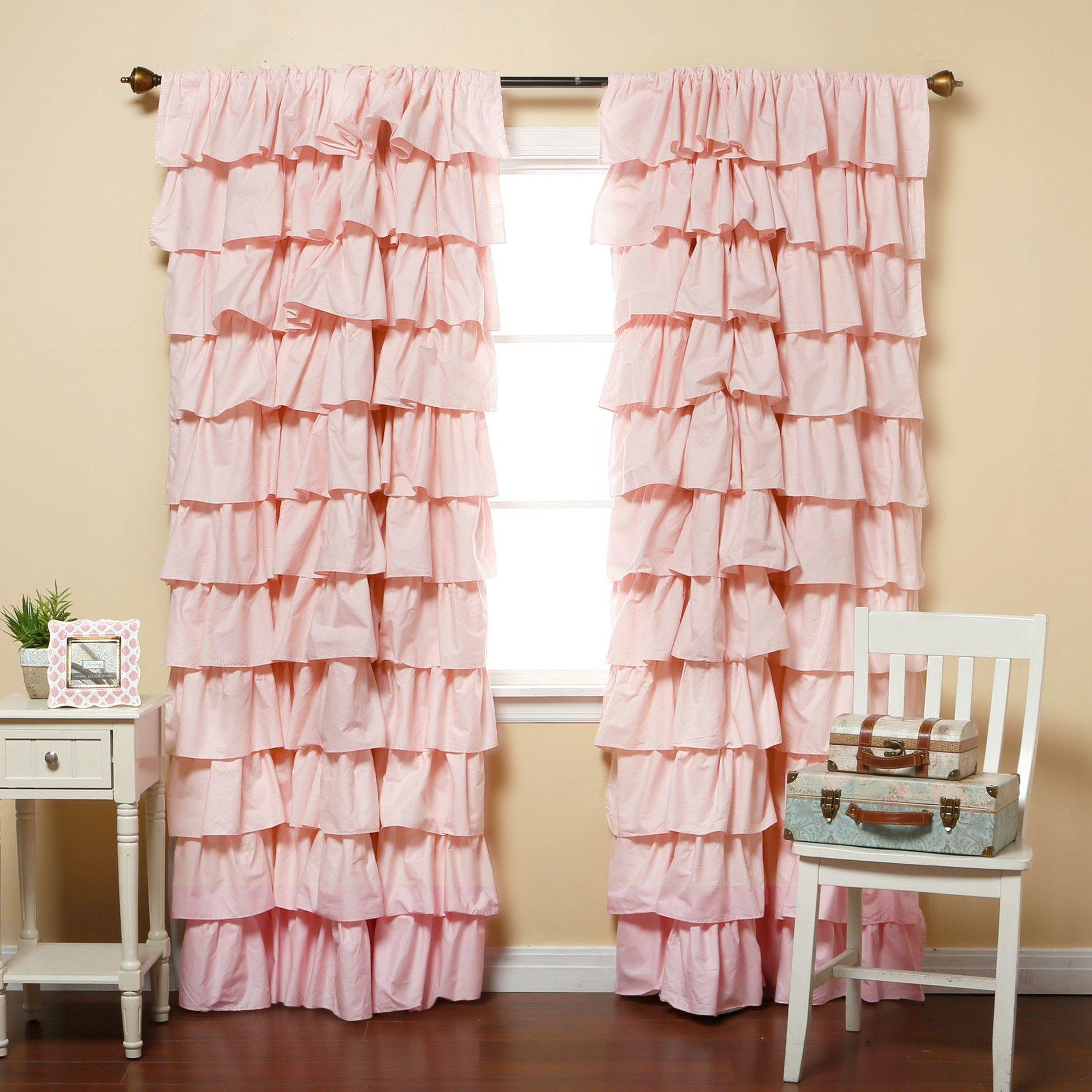 Pink Blackout Large Waterfall Ruffle Curtain