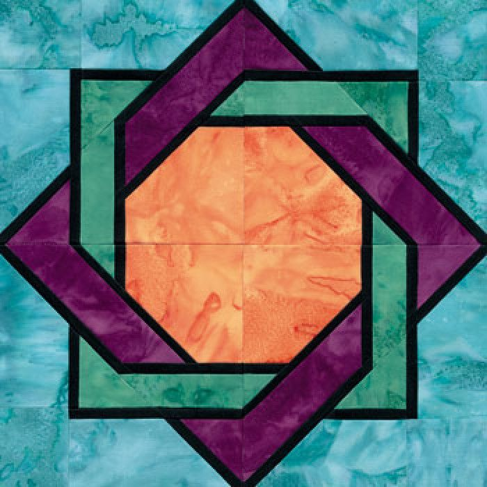 Stained glass interlocked squares quilt block pattern for Window pane quilt design