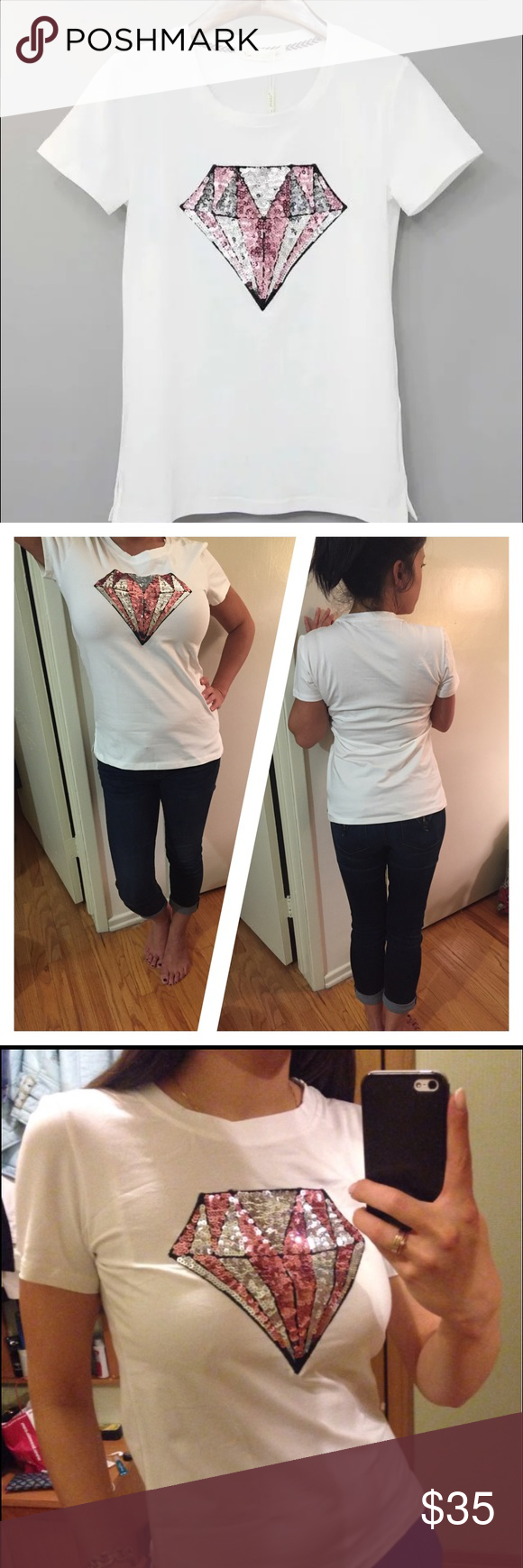 """Shine bright! NWT sequin tee shirt. Quality, NWT sequin tee shirt. Gorgeous! Fits like a juniors size small/medium, depending on how you like the fit. My model in pic #2 is wearing the shirt for sell,  is size 4, with DD bust, 5'1"""" tall. Boutique brand, listed under Zara for exposure. Zara Tops Tees - Short Sleeve"""
