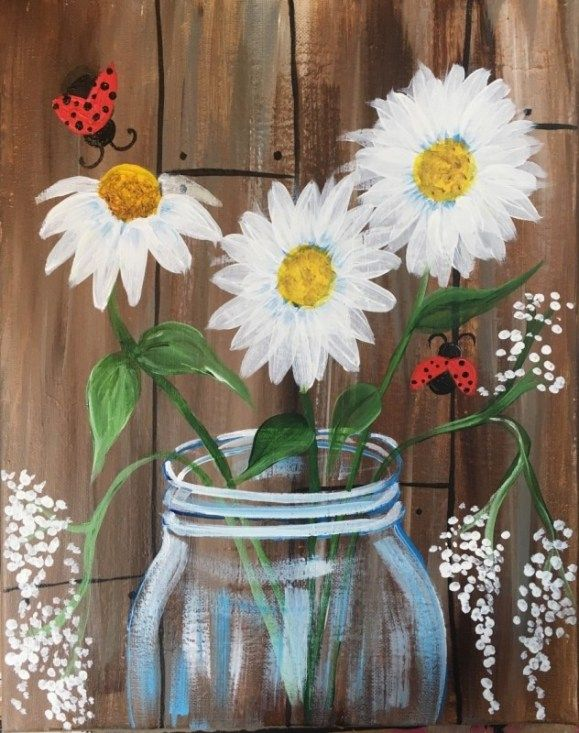 How To Paint Daisies In A Jar is part of Daisy painting, Canvas painting tutorials, Simple acrylic paintings, Flower painting canvas, Acrylic painting for beginners, Step by step painting - This beginner acrylic canvas painting tutorial will show you how to paint a daisies in a jar step by step  Learn with picture directions and video