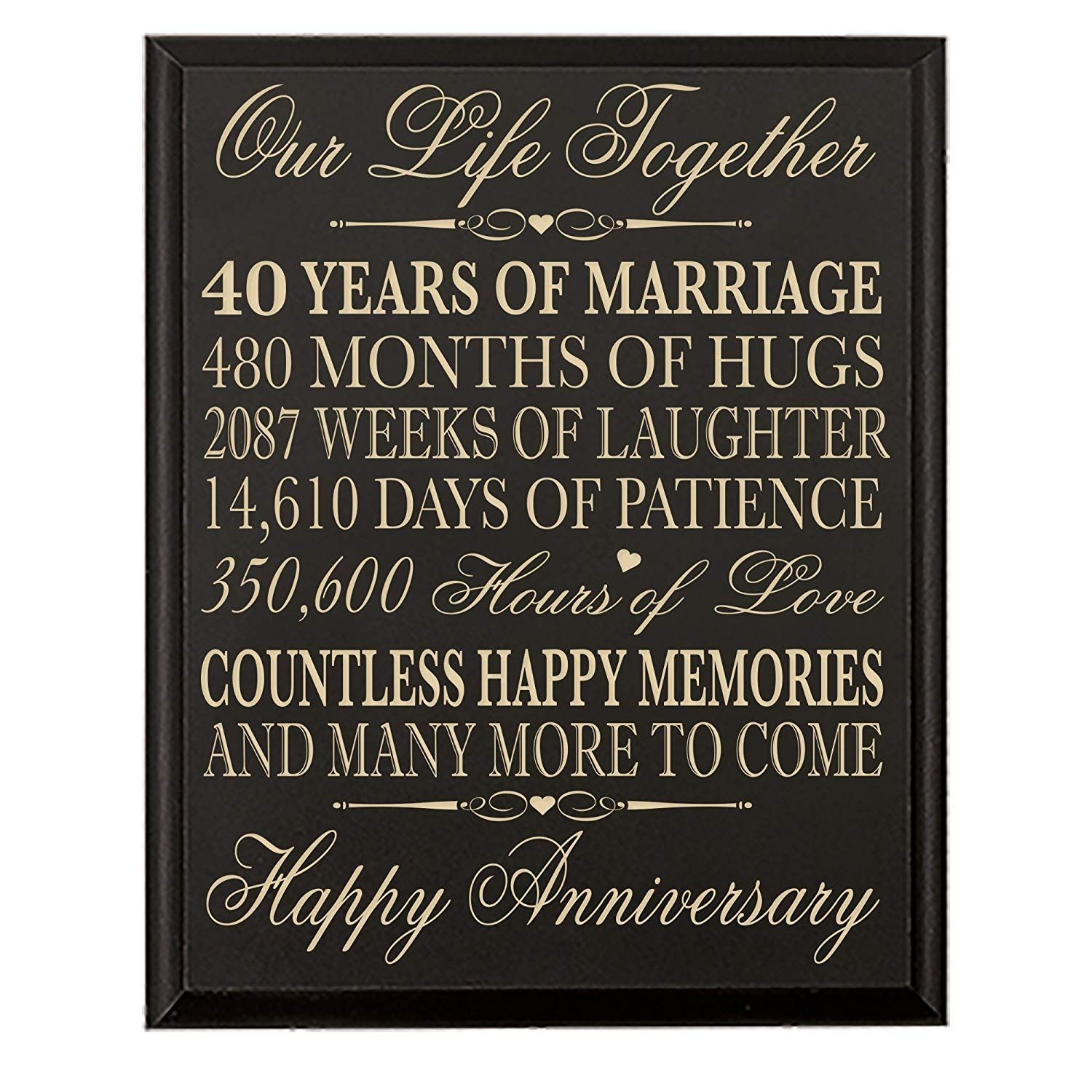 40th wedding anniversary wall plaque gifts