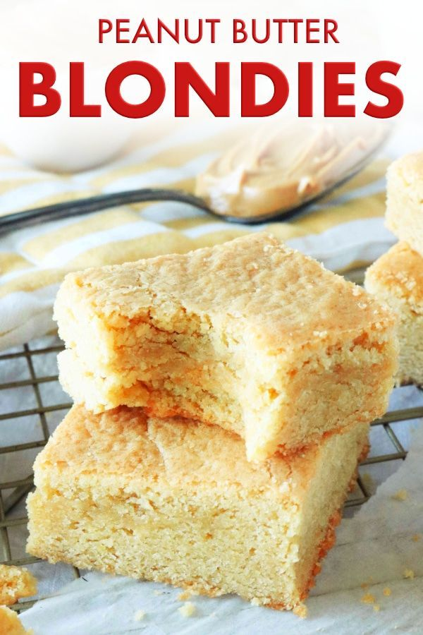 Peanut Butter Blondies Peanut Butter Blondies are salty-sweet, thick and chewy treat for peanut butter lovers! Whip up the batter in less than 15 minutes and it's time to bake!