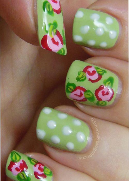 Classic Vintage Style Simple Nail Art Designs   Belleza   Pinterest ...
