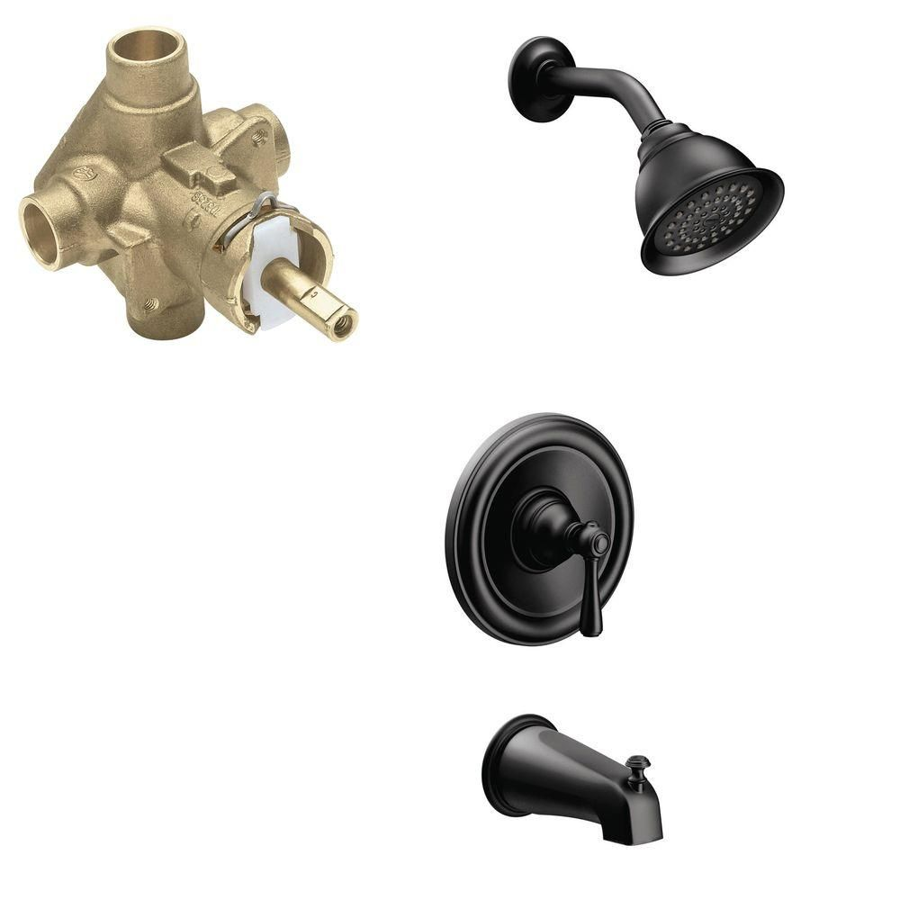 Wrought iron bathroom faucet - Moen Kingsley Single Handle 1 Spray Positemp Tub And Shower Faucet Trim Kit With Valve In Wrought Iron