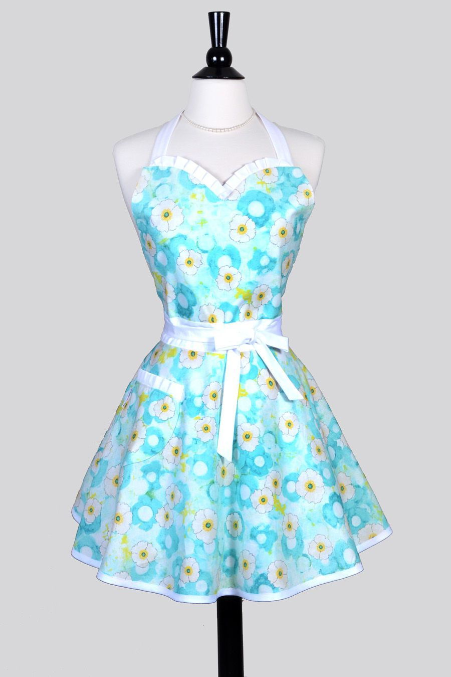 Sweetheart Pinup Womans Apron - Ocean Blue and Yellow Blossoms ...