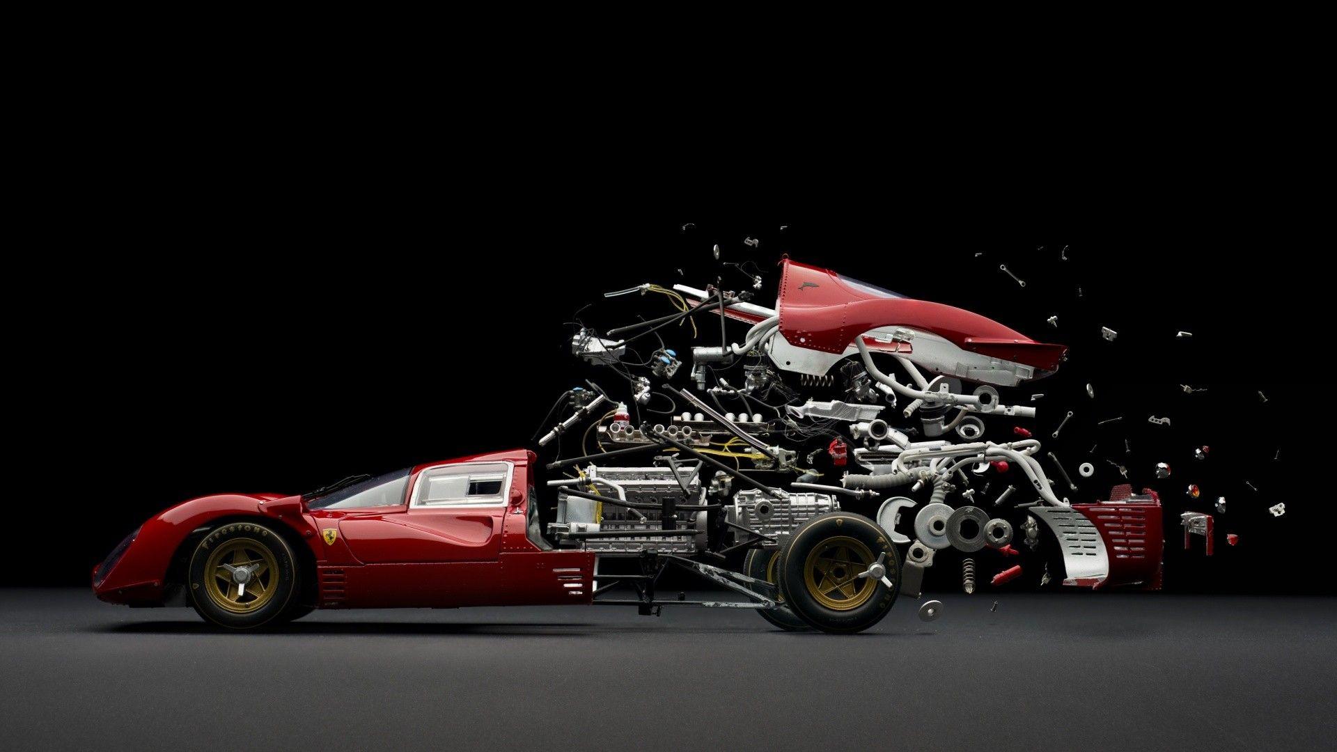 Abstract Car Sports Parts Mechanics Ferrari Exploded View Diagram Maranello Classic Composite Wallpaper Hd