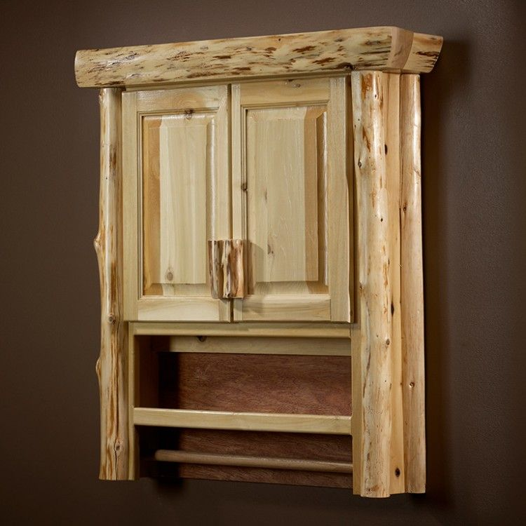 Cedar Log Over The Toilet Cabinet Great For Storing Extra