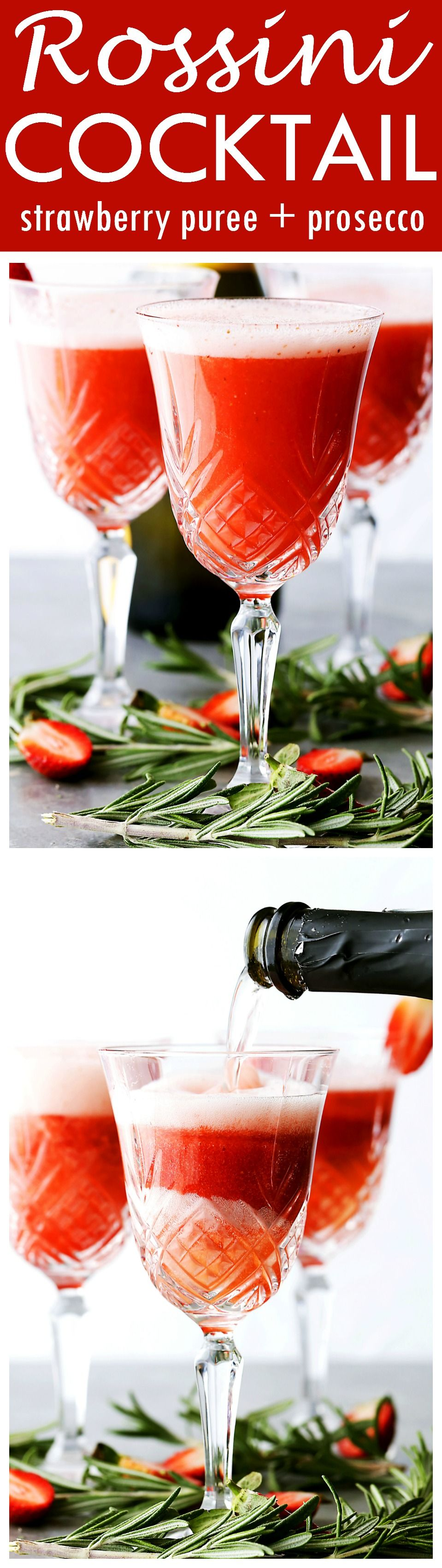 Rossini Cocktail - Festive, gorgeous, and delicious cocktail made with Prosecco and strawberry puree!