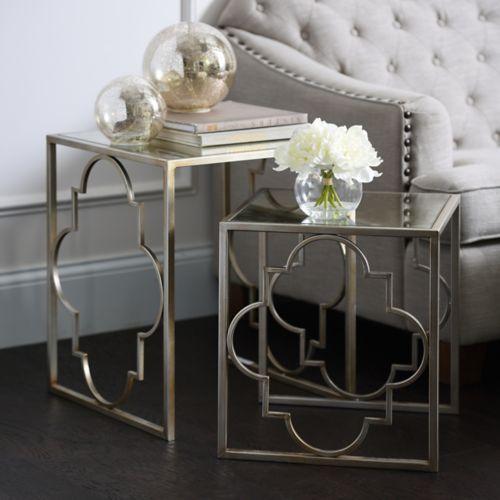 Silver Quatrefoil Nesting Tables Set Of 2 Living Room Side Table Living Room Sets Furniture Living Room Table Sets