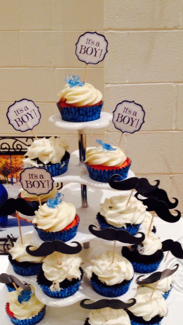 Strawberry cupcake with cream cheese frosting , baby boy baby shower special order