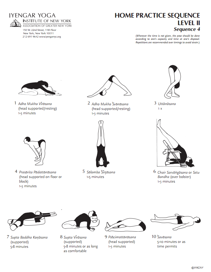 Iyengar Yoga Institute Of New York Home Practice Sequence Level 2 4