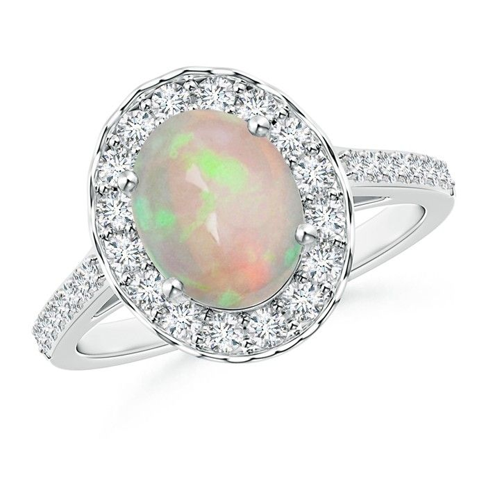 Angara Oval Opal and Diamond Halo Ring with Bezel-Set Emerald in White Gold 2TjcqocDsd