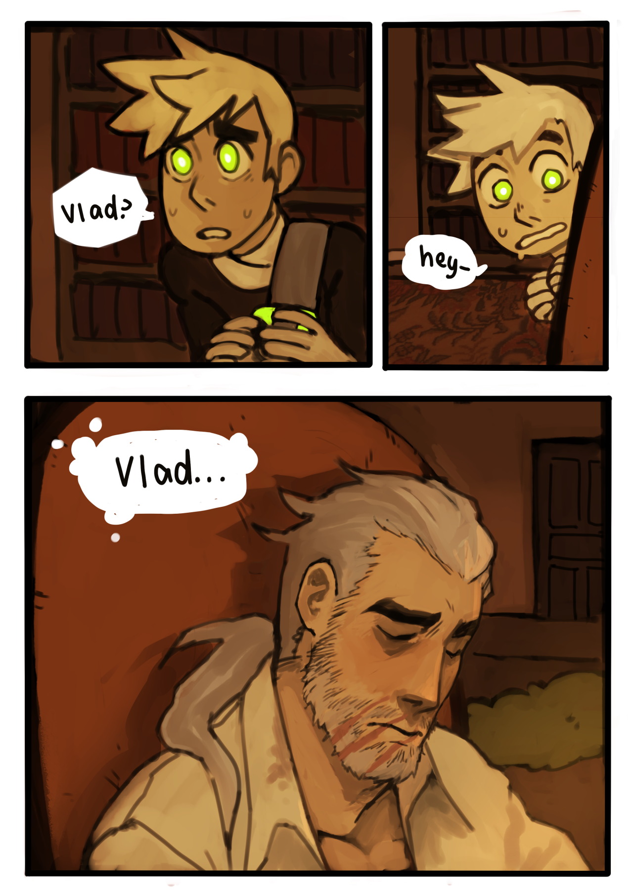 Page 78 [ TRUMPET NOISE ] FINALLY AFTER WAY TOO LONG, i GET TO DRAW VLAD IN THE DANG COMIC AGAIN lookin' a bit crumpled there fam