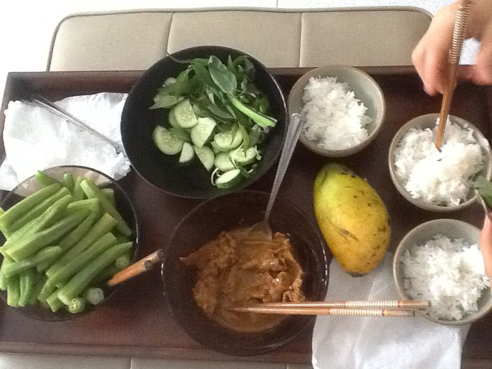 #rice #cucumbers #mango #okra #mint #mustardgreens #rawherbs #curry #goat #eatingbapho #capricorn eating