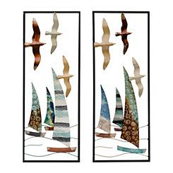 Metal Birds and Sailboats Wall Plaques, Set of 2