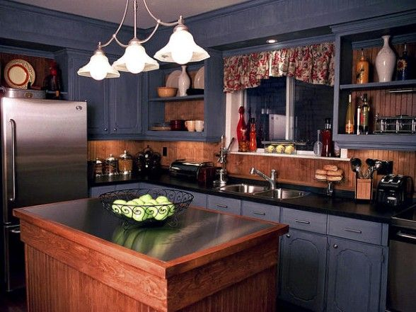 Country Kitchens In Denim Blue Cabinets From Candice Olson Home Decorating Ideas Interior Design