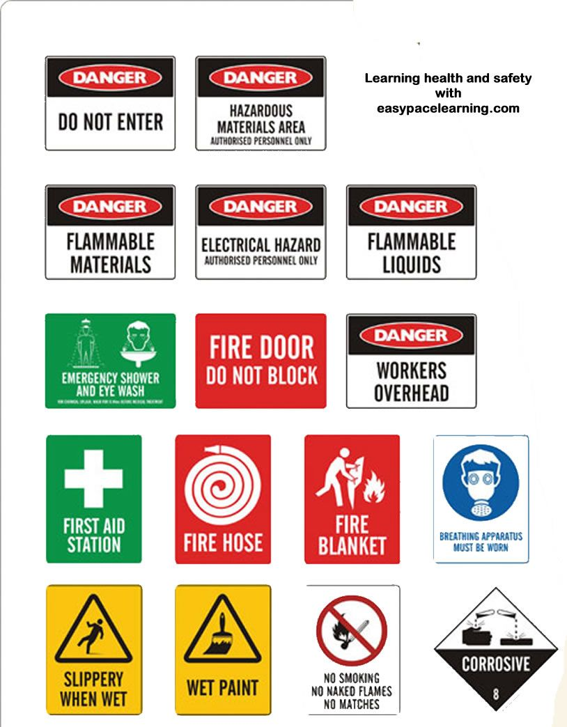 Learning health and safety signs Health and safety