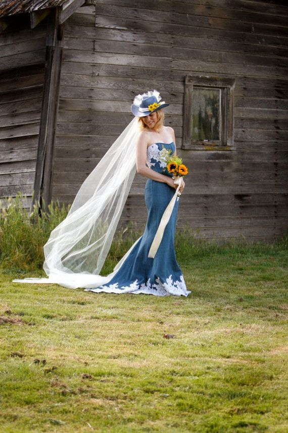 Denim and lace rustic country wedding dress sample sale for Western denim wedding dresses