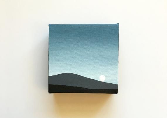Sunset From Mars | Original Acrylic Painting | 4x4 Inches | By Janelle Anakotta