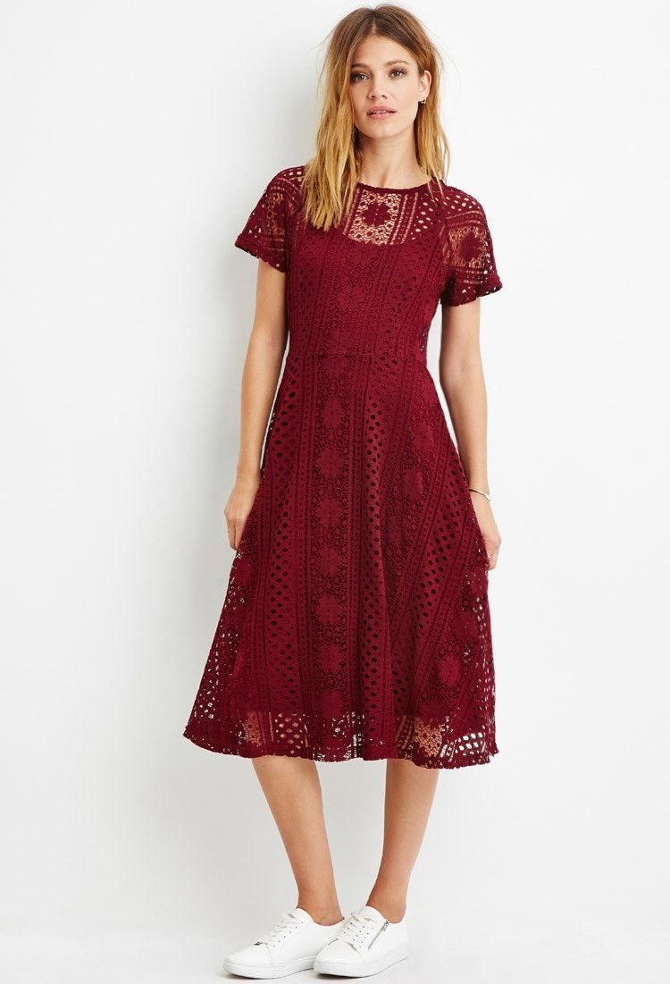 Forever 21 Contemporary A Sheer Floral Crochet Lace Dress With Short Sleeves A Midi Silhouette And A Crochet Midi Dress Long Red Dress Burgundy Midi Dress