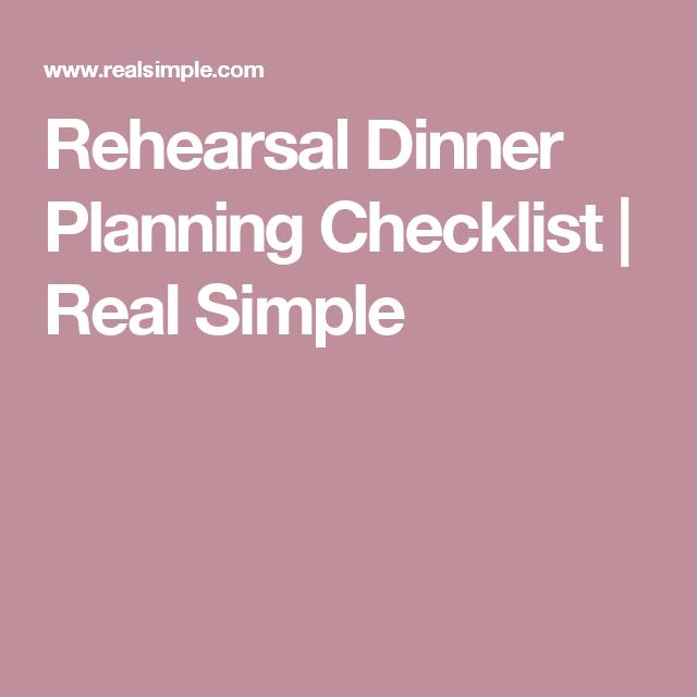 Rehearsal Dinner Planning Checklist