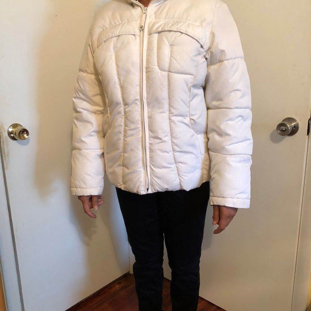 White Hooded Puffy Jacket Sz M Juniors Girl 16 Bling Snow Shine Sparkle Coat #ProtectionSystem #PufferPuffyParka #CasualOutdoor
