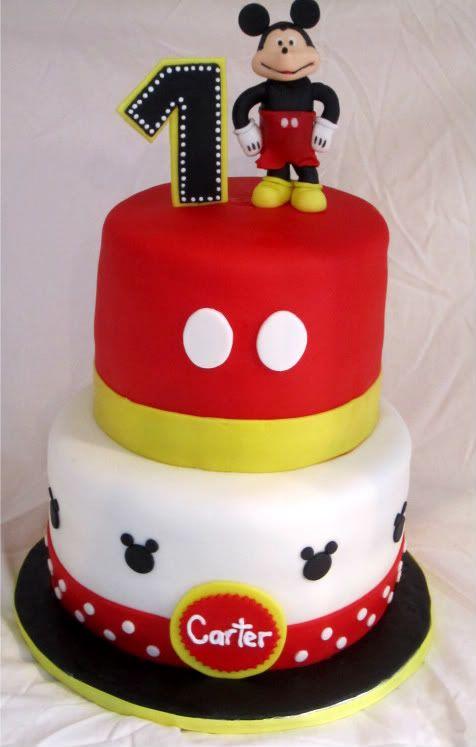 Marvelous Mickey Mouse 1St Birthday Cake With Images Mickey Mouse Cake Personalised Birthday Cards Akebfashionlily Jamesorg