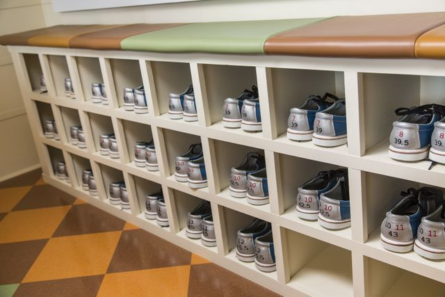 Beau Custom Built In Cubby Holes For Home Bowling Alley Shoe Storage Doubles As  A Convenient Seat So Guest Bowlers Can Sit As They Put On Their Bowling  Shoes.