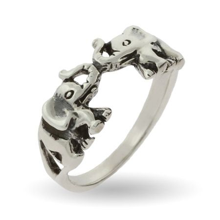 Bling Jewelry Antique Style Lucky Double Elephants Animal Sterling Silver Ring 1hXg4GH6