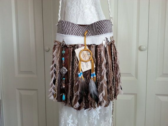 Native American Inspired Fringe Bag with Navajo Dream Catcher by Pursuation on Etsy.com