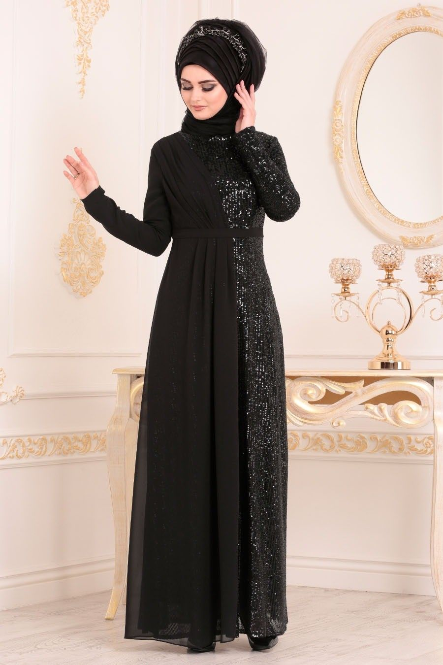 Tesetturlu Abiye Elbise Pul Payetli Siyah Tesetturlu Abiye Elbise 85590s Tesetturisland Com Hijab Evening Dress Evening Dresses Dresses
