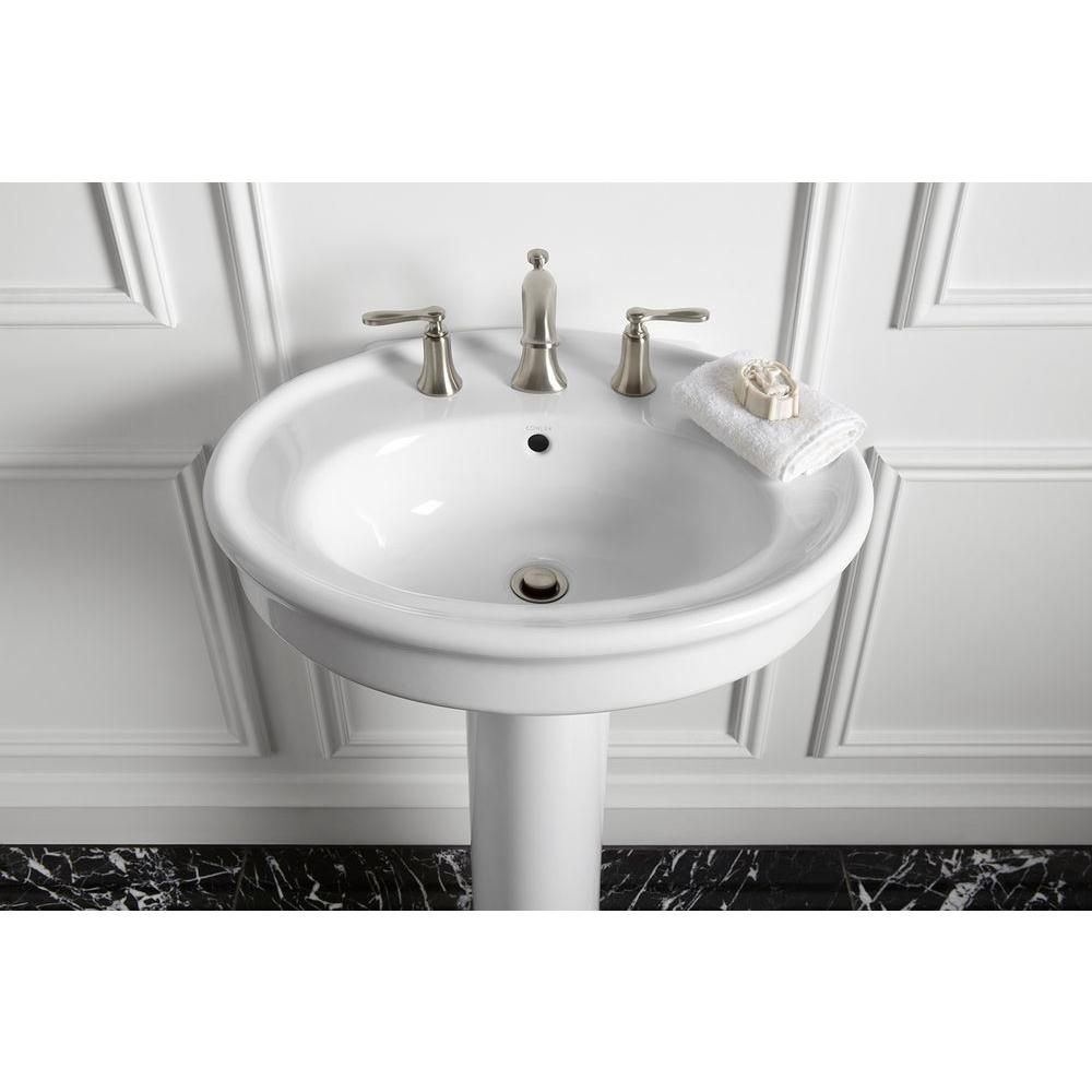 KOHLER Willamette Vitreous China Pedestal Combo Bathroom Sink In Biscuit  With Overflow   The Home Depot
