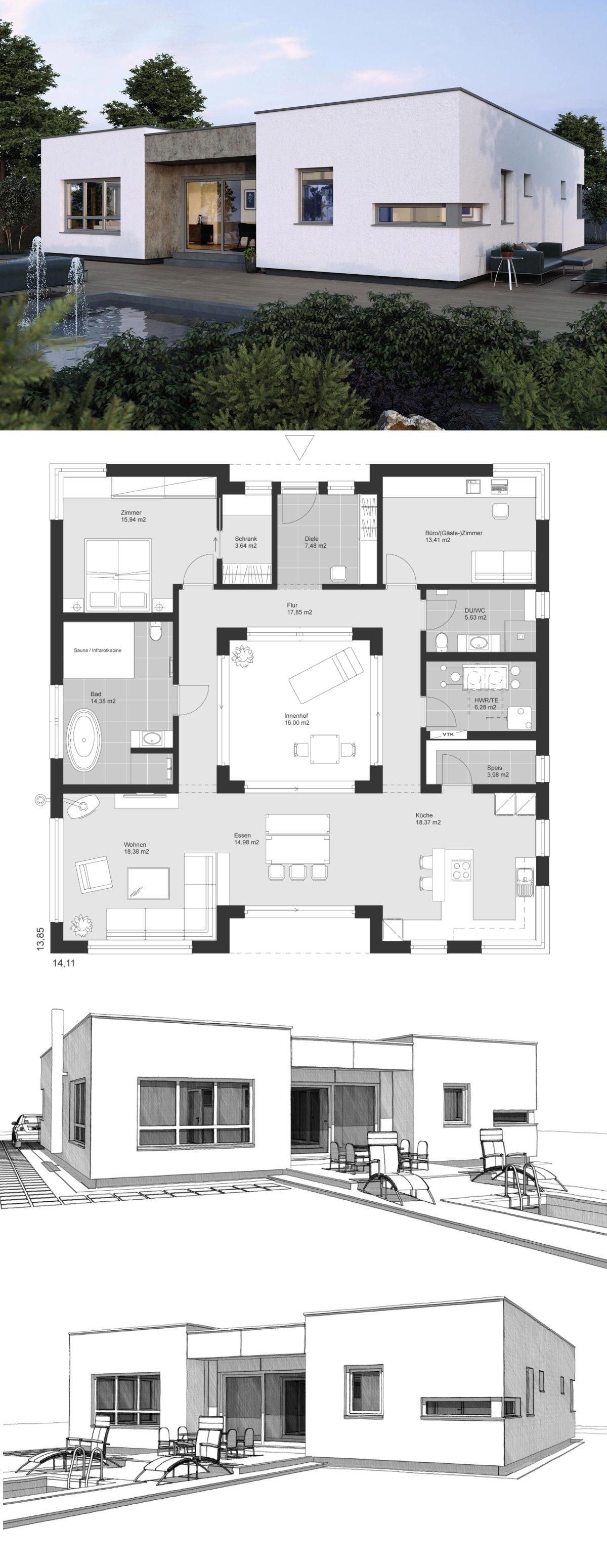 Bungalow Haus Architektur Modern Im Bauhausstil Grundriss Mit