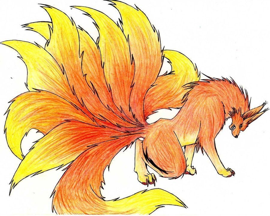 Nine Tailed Fire Kitsune With Images Fox Sketch