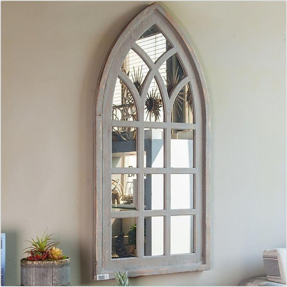 Mirror Gothic Wood Large Arched Antique White Window Shaped Indoor Outdoor Decor White Windows Shabby Chic Wedding Decor Decor