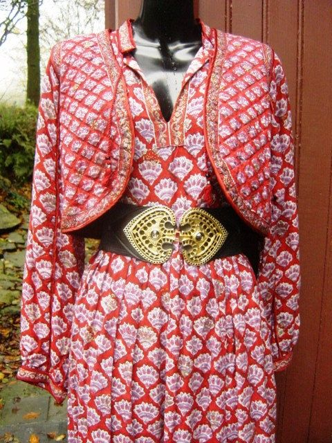 Vintage Indian Cotton Rare Red Boho Hippy 70's Dress by JanAvril, $210.00
