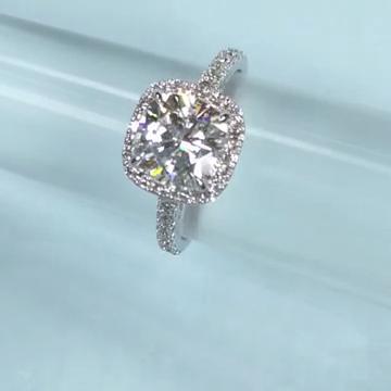 Dazzling custom cushion cut halo engagement ring