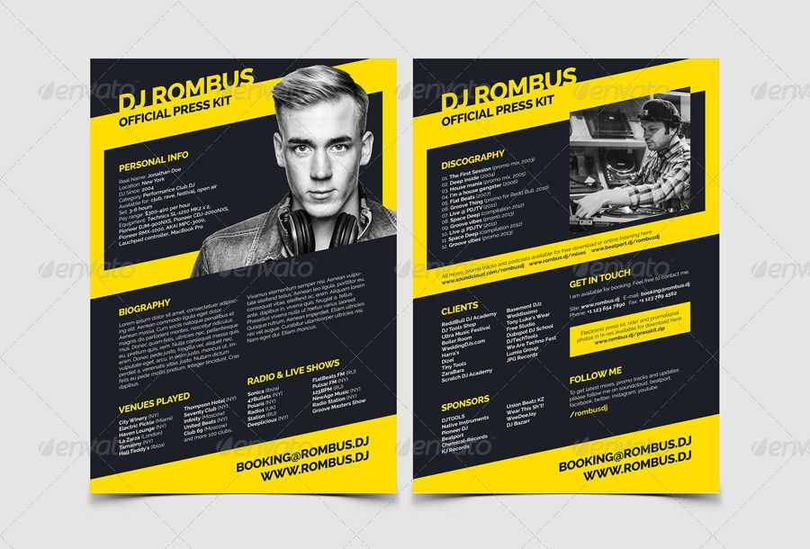 Rombus Dj Resume Press Kit Psd Template In 2020 Press Kit Template Press Kit Press Kit Design