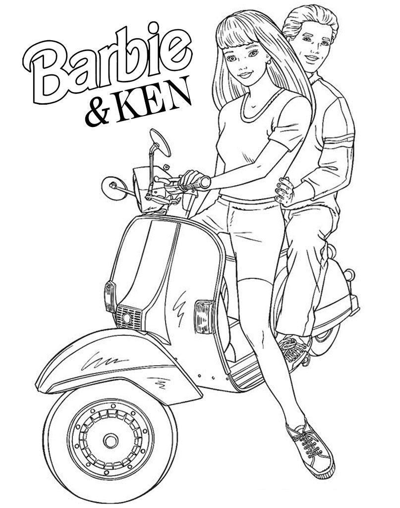Barbie Ken Na Motorze Kolorowanki Dla Calej Rodziny Na Kolorownaki Net Pl In 2020 Barbie Barbie And Ken Barbie I